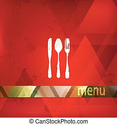restaurant menu design with spoon, fork and knife