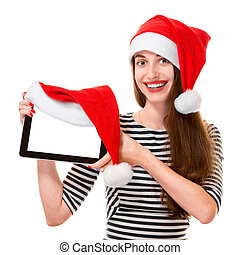Young woman with digital tablet on Christmas