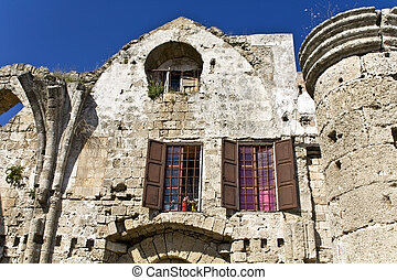Old medieval house at Rhodes island in Greece