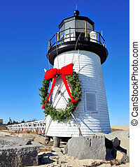 Christmas at Nantucket - Brant Point Lighthouse at...