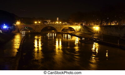 tiber island - Tiber island Time Lapse at night, Rome, Italy