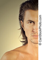 Close-up handsome man face - Close-up half man face,...