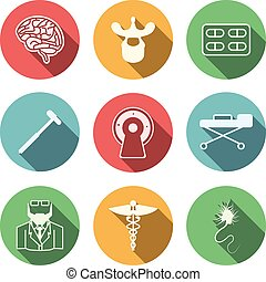 Colored vector icons for neurology - Set of colored circle...