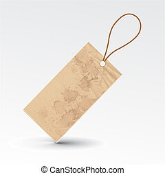 grunge tag - vector blank grunge tag tied with brown string...