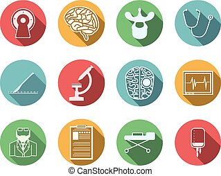 Colored vector icons for neurosurgery - Set of colored...
