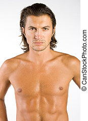 Athlete - Handsome and sexy brunet male athlete isolated on...