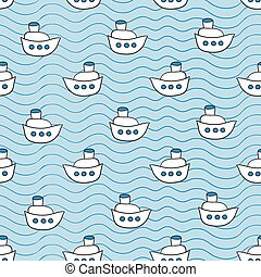 Summer seamless pattern with ship images blue ocean...