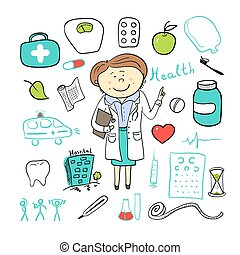 Health icons, doodle ilustration, woman doctor - Vector...