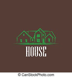 vintage illustration with a house. real estate sign