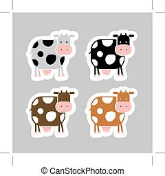 Stickers with funny cow for your design
