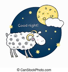 Vector print with images cute sheep on background night sky with moon and wish good night in cartoon style and wish good night
