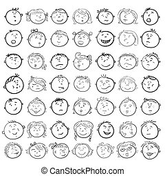 Different children faces cartoon, vector icons set in doodle...