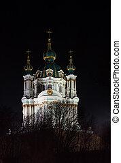 烏克蘭,  andrew's, 基輔, 夜晚, 街, 教堂