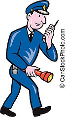 Policeman Torch Radio Cartoon - Illustration of a policeman...