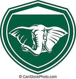 Elephant Head Tusk Front Shield - Illustration of an...