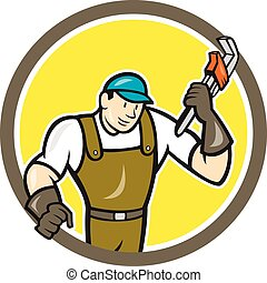 Plumber Monkey Wrench Circle Cartoon - Illustration of a...
