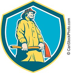 Fireman Firefighter Standing Axe Shield Retro - Illustration...