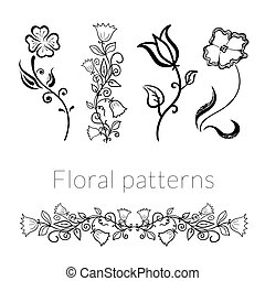 Collection vector stylish black white flowers