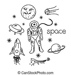 Space vector objects - Space vector black and white objects...