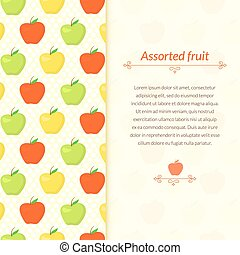 Colorful pattern with green, yellow and red apples