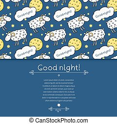 Seamless vector pattern with images cute sheep on background night sky with moon and wish good night in cartoon style