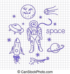 Space vector objects drawing blue pen on notebook sheet