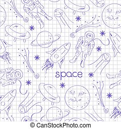Space vector seamless pattern drawing blue pen on notebook...
