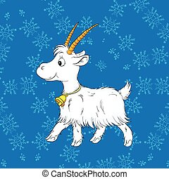 Young white goat on blue background