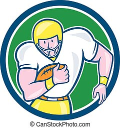 American Football Fullback Circle Retro - Illustration of an...