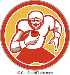American Football Running Ball Circle Retro - Illustration...