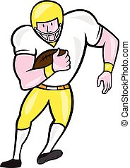 American Football Fullback Front Retro - Illustration of an...