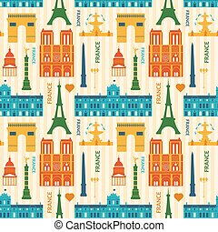 Landmarks of France colorful seamless pattern