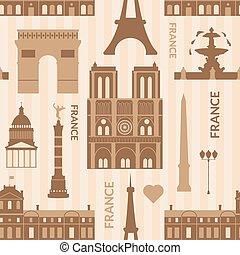 Landmarks of Paris monochrome seamless pattern - Landmarks...