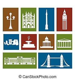 Landmarks of United Kingdom, vector colorful cartoon flat...