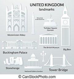Landmarks of United Kingdom, vector 3D paper design icon set