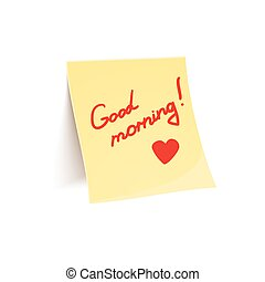 Note to wish good morning glued to wall, beautiful vector...