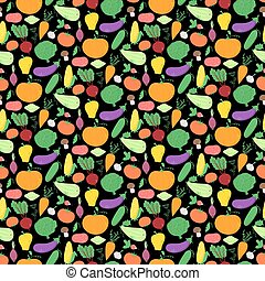 Vegetables seamless pattern, vector background with great...