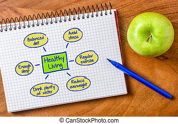Healthy living written on a notepad