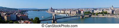 Panoramic view of Budapest: chain Secheni Bridge through the...