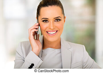 business executive talking on cell phone - cheerful business...