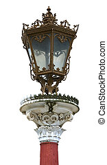 Old traditional luxury street light post