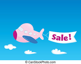 Flight sale - Flying Airplane with promotional banner Vector...