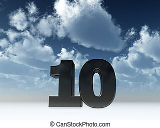 number ten - the number ten - 10 - in front of blue sky - 3d...