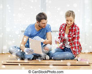 測量, 微笑, 木頭, 夫婦, 地板