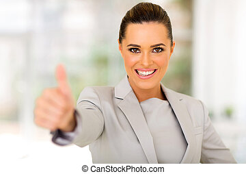 business executive giving thumb up - cheerful business...