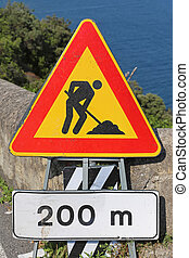 Roadworks traffic sign at Amalfi Coast
