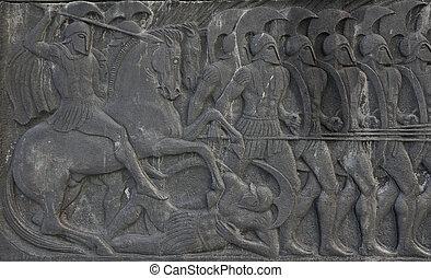 Grego, antiga, semelhante, placa, grande, Alexander,...