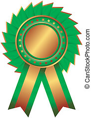 Bronze medal with  blue ribbon (vector)