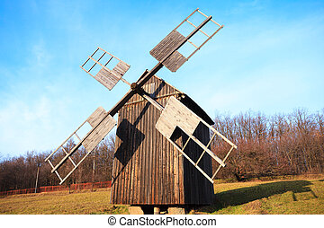 Old wooden windmill, Pirogovo Museum, Kiev, Ukraine - Old...