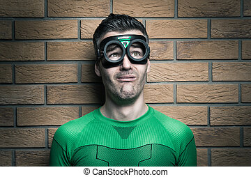 Terrified superhero - Terrified green superhero looking away...